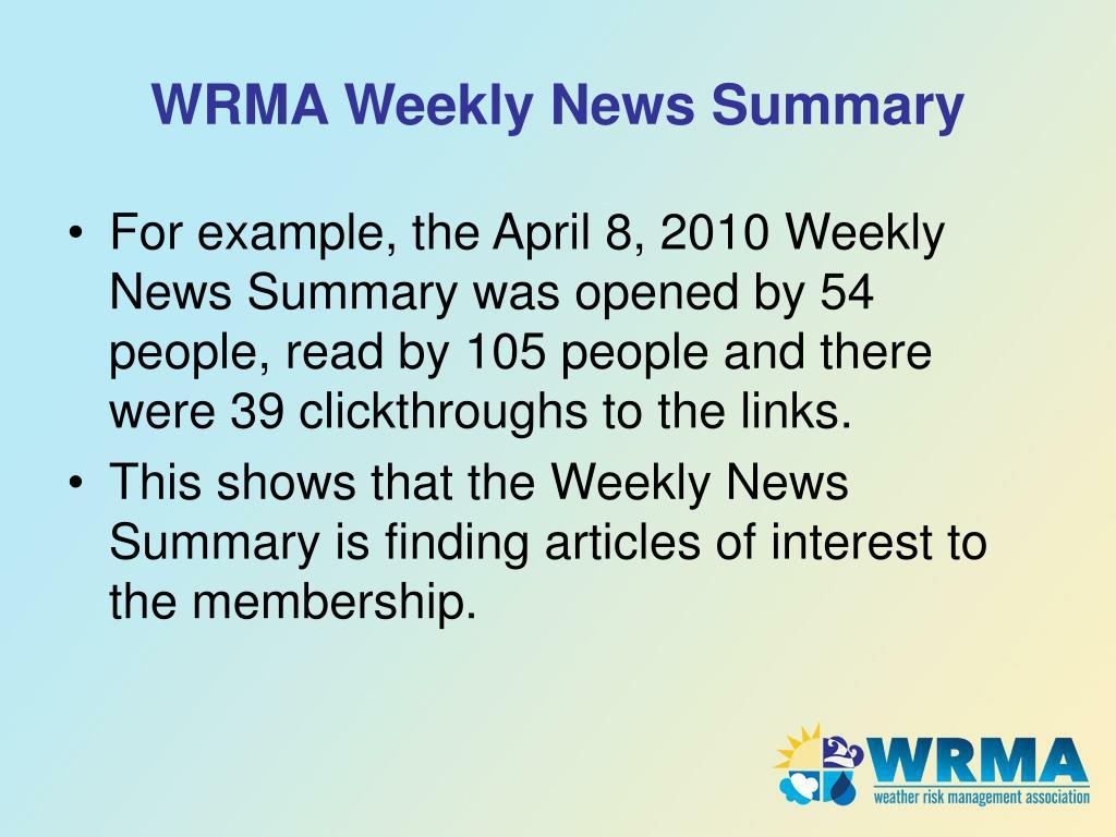 WRMA Weekly News Summary