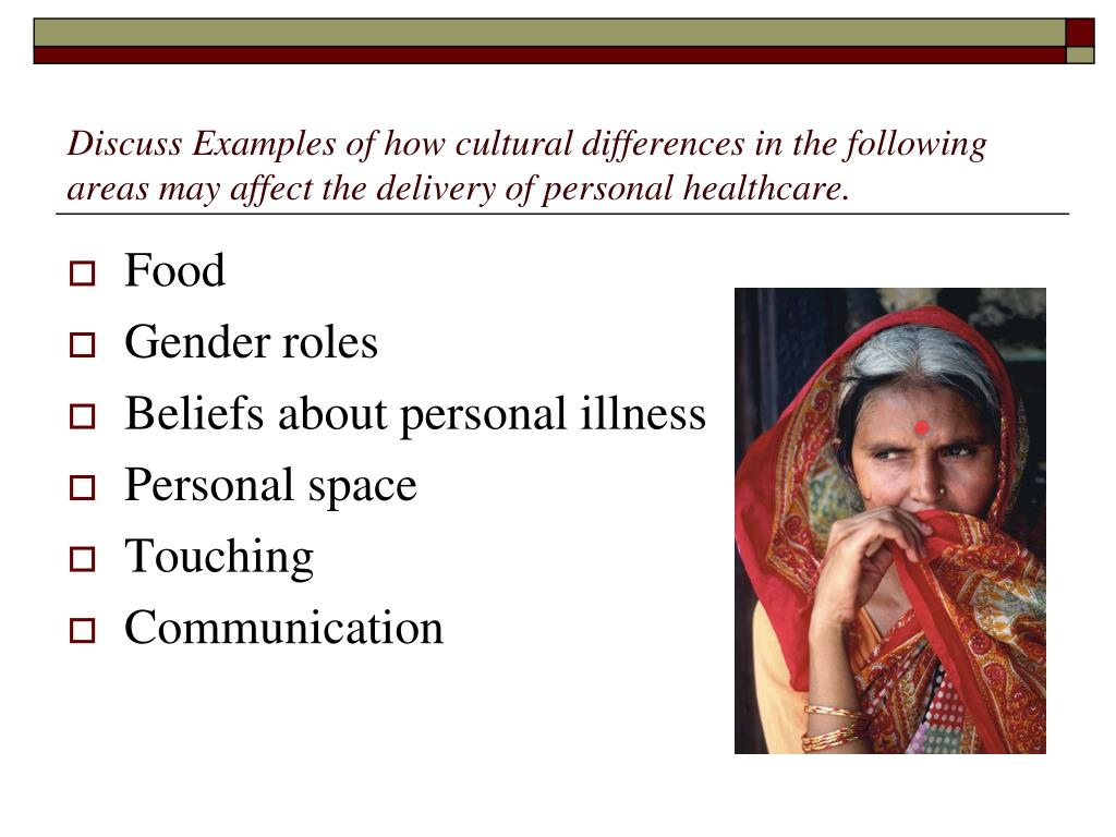 Discuss Examples of how cultural differences in the following areas may affect the delivery of personal healthcare.