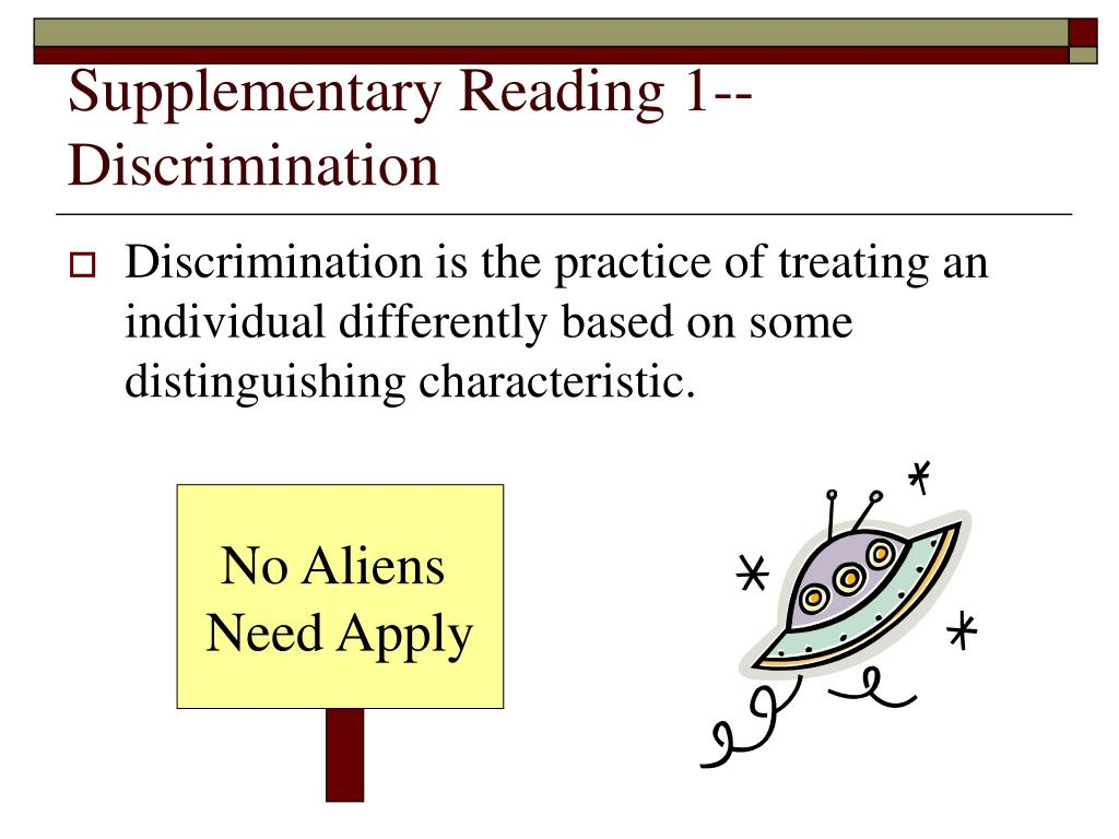 Supplementary Reading 1--Discrimination