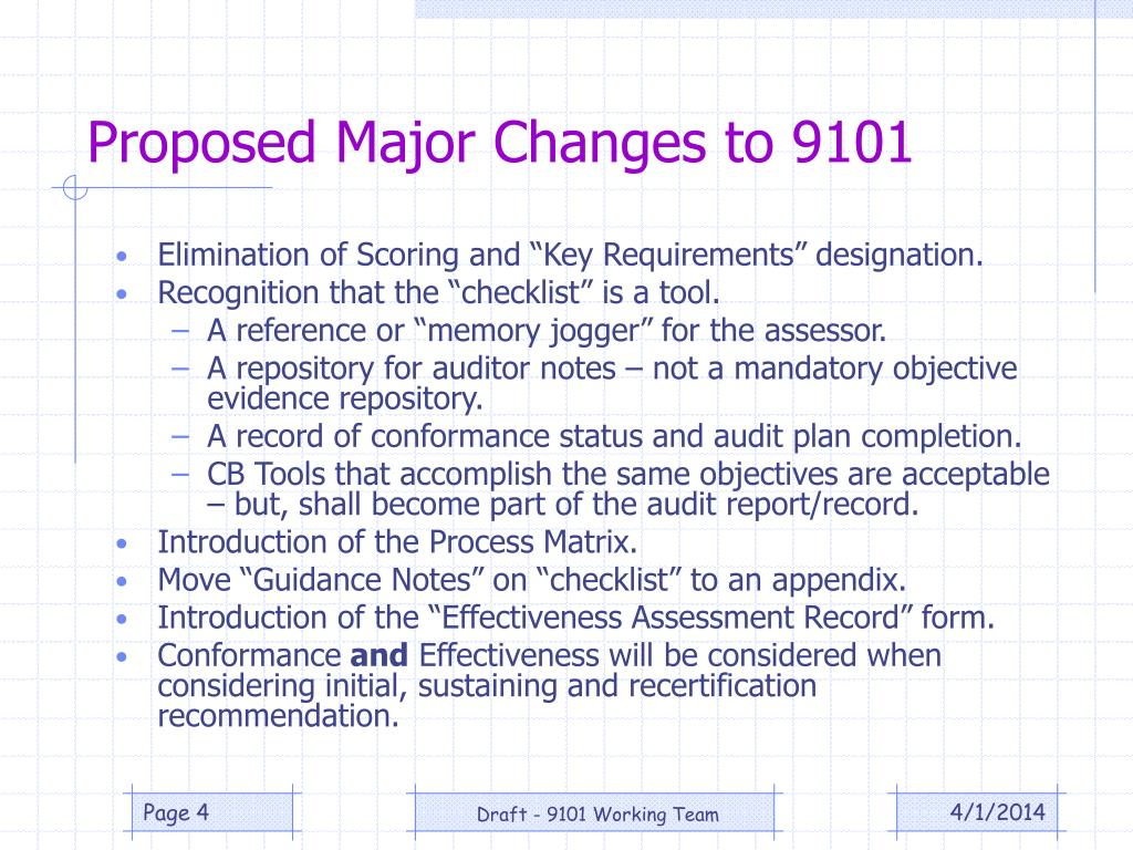 Proposed Major Changes to 9101