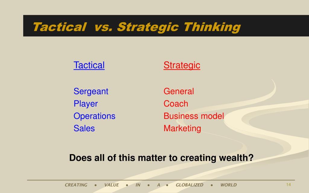 Tactical  vs. Strategic Thinking