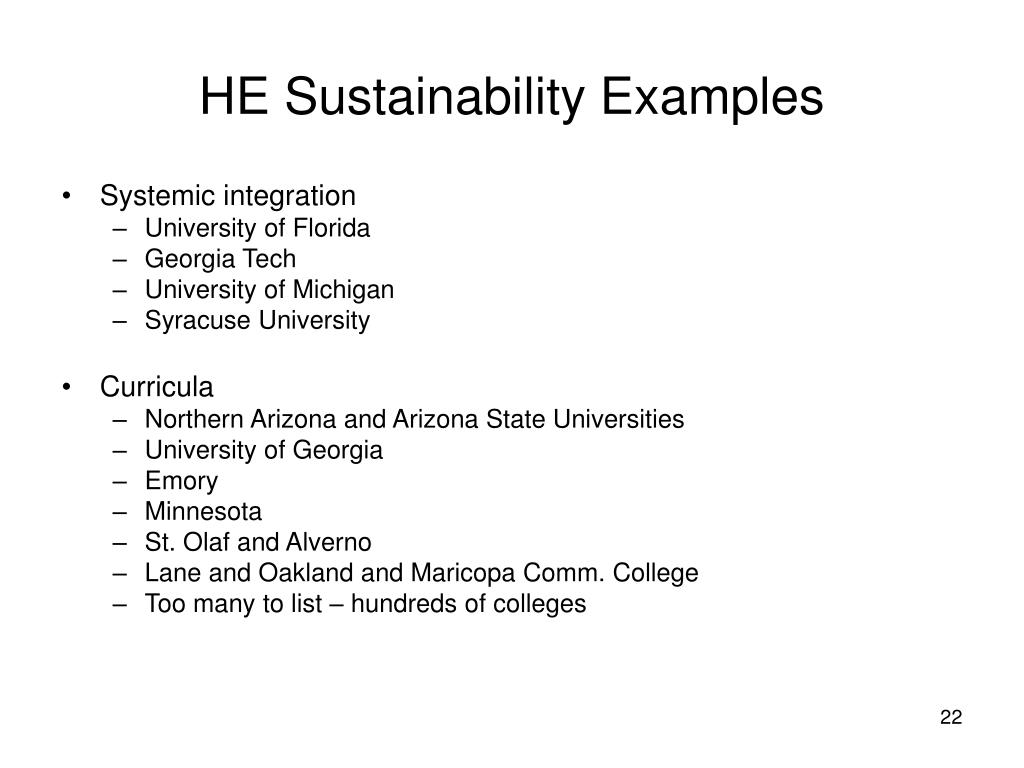 HE Sustainability Examples