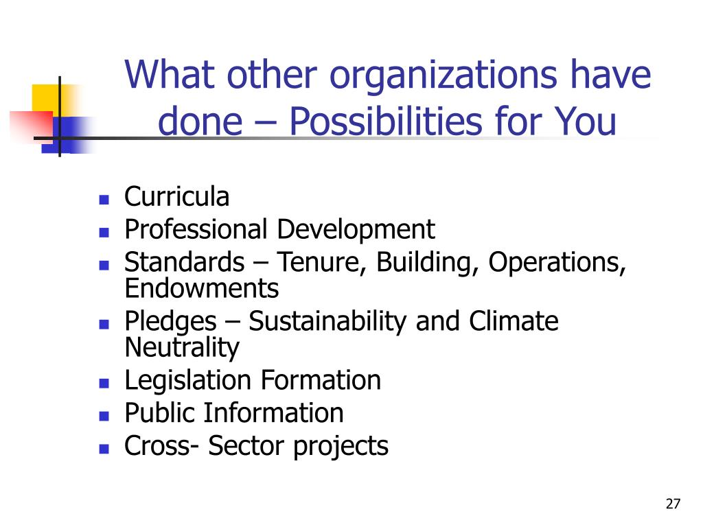 What other organizations have done – Possibilities for You