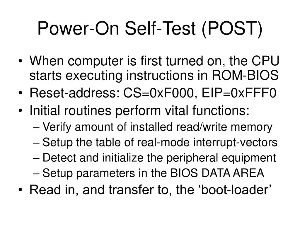 Power-On Self-Test (POST)