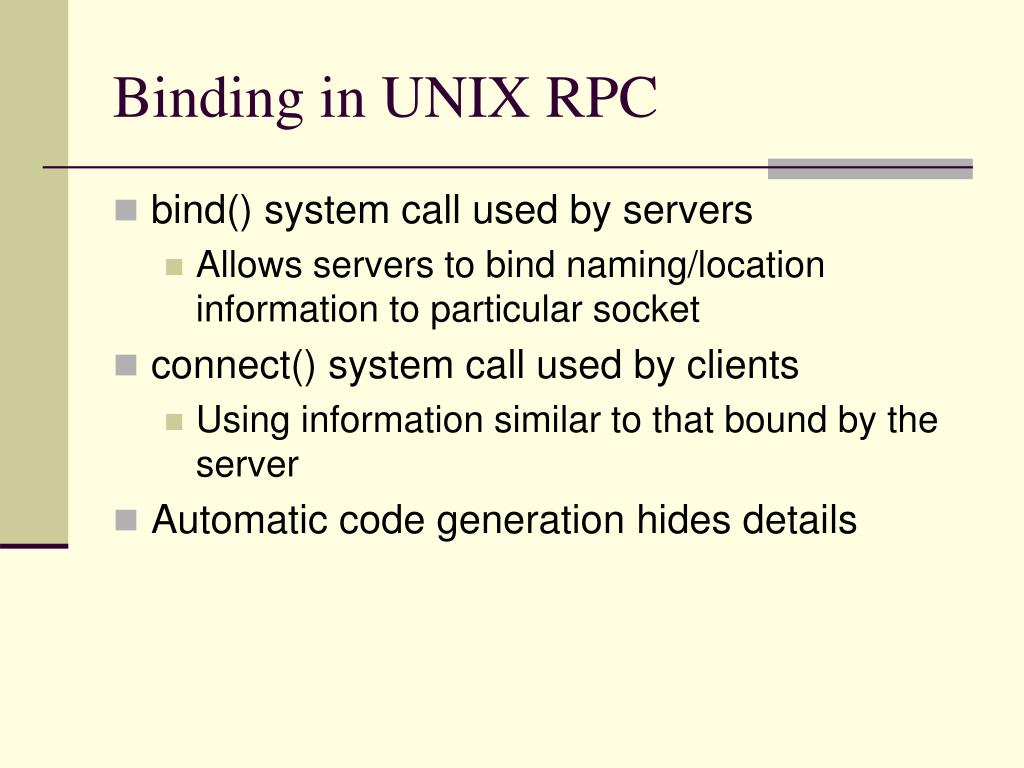 Binding in UNIX RPC