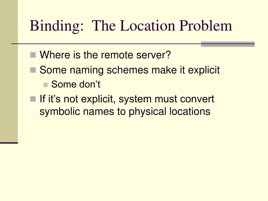 Binding:  The Location Problem