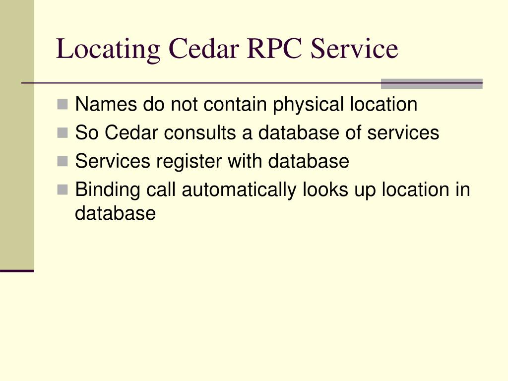 Locating Cedar RPC Service