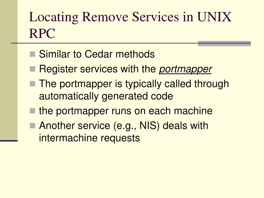 Locating Remove Services in UNIX RPC