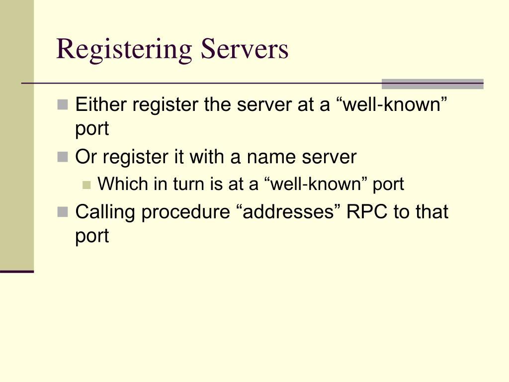Registering Servers