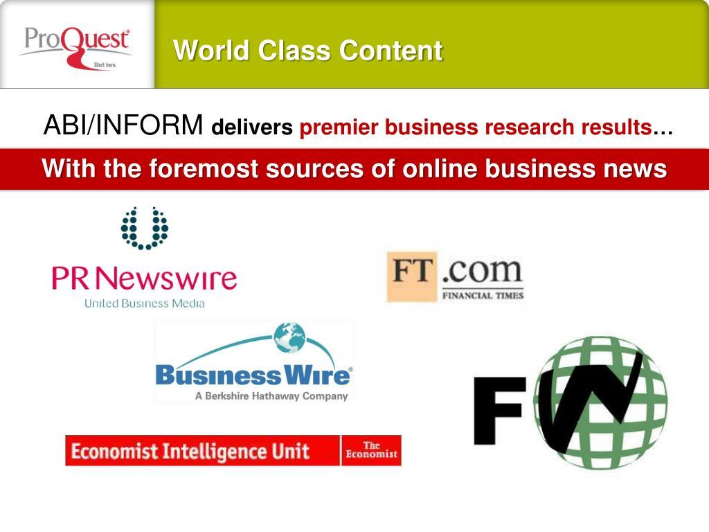 World Class Content
