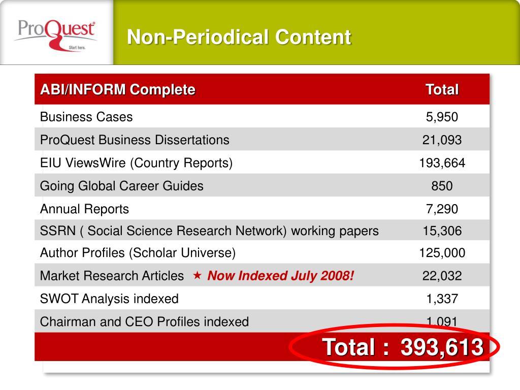 Non-Periodical Content
