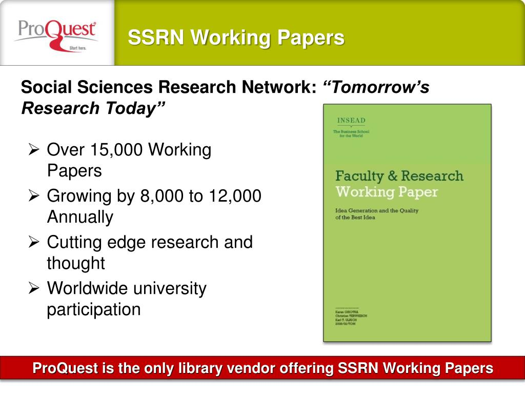 SSRN Working Papers