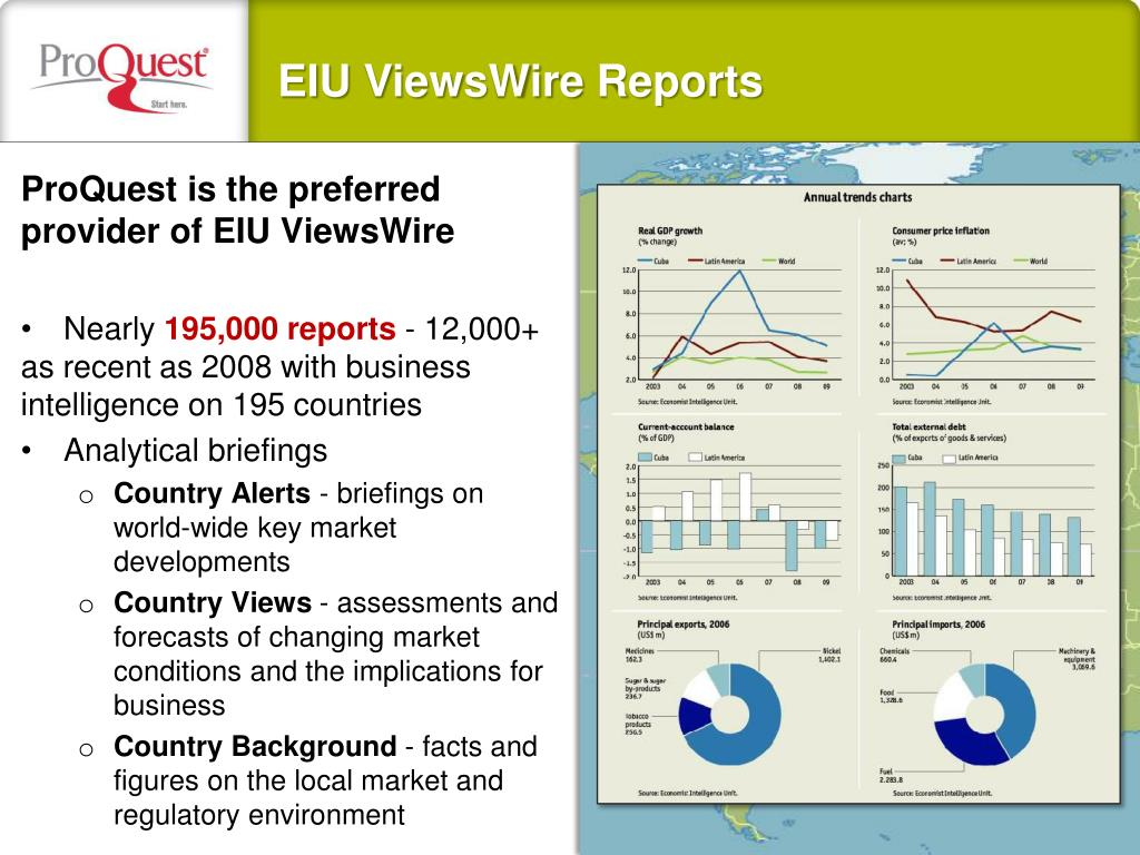ProQuest is the preferred provider of EIU ViewsWire