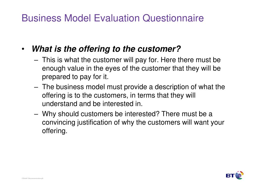 Business Model Evaluation Questionnaire