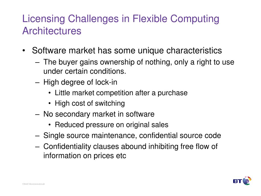 Licensing Challenges in Flexible Computing Architectures