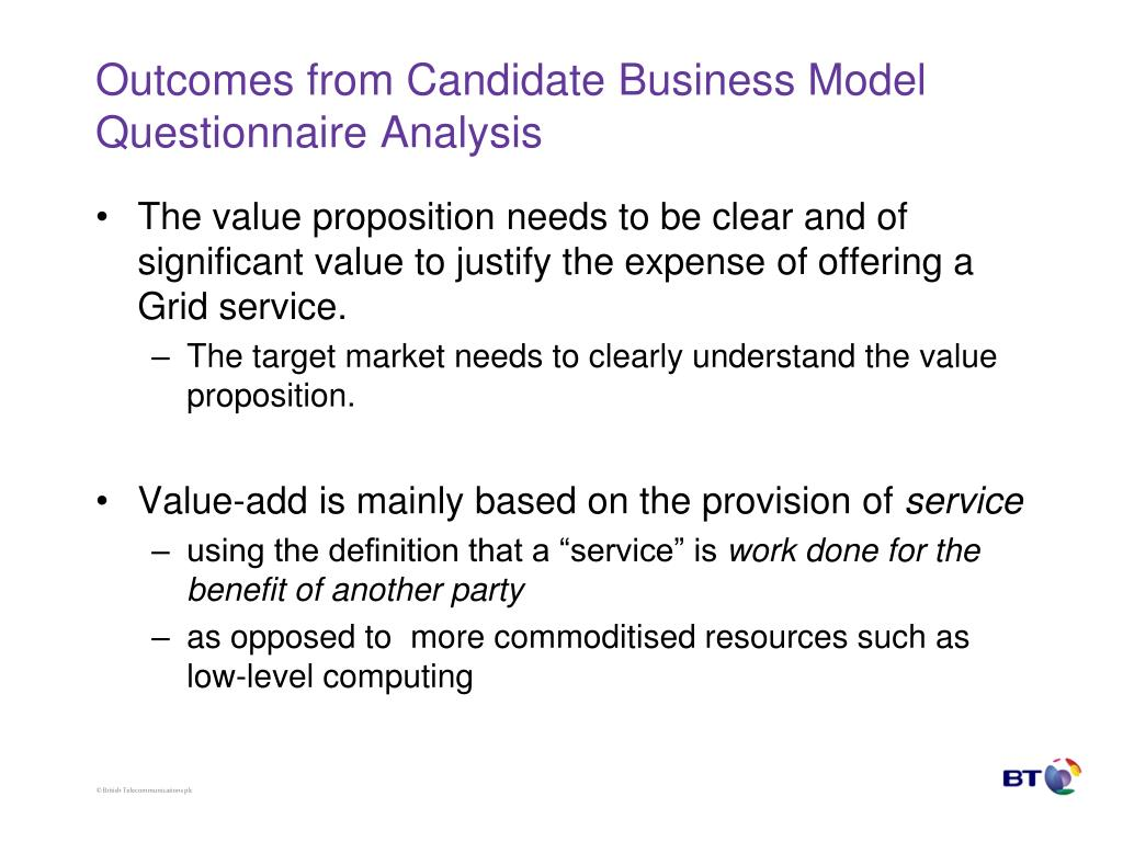 Outcomes from Candidate Business Model Questionnaire Analysis