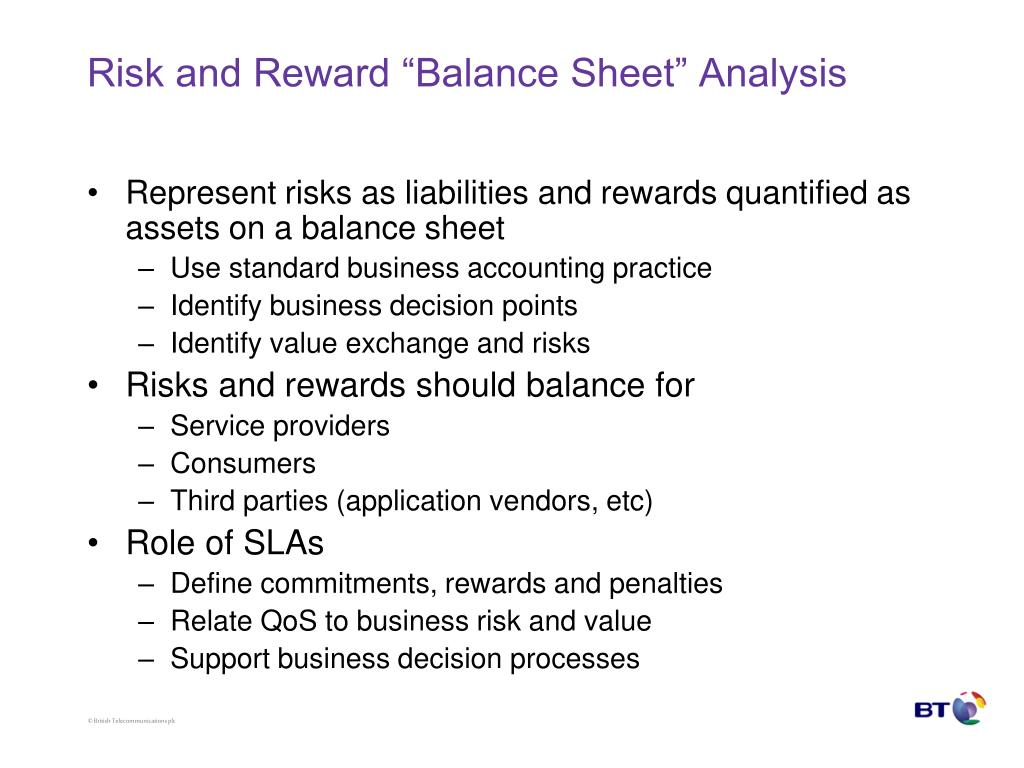 "Risk and Reward ""Balance Sheet"" Analysis"