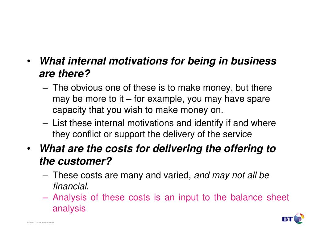 What internal motivations for being in business are there?