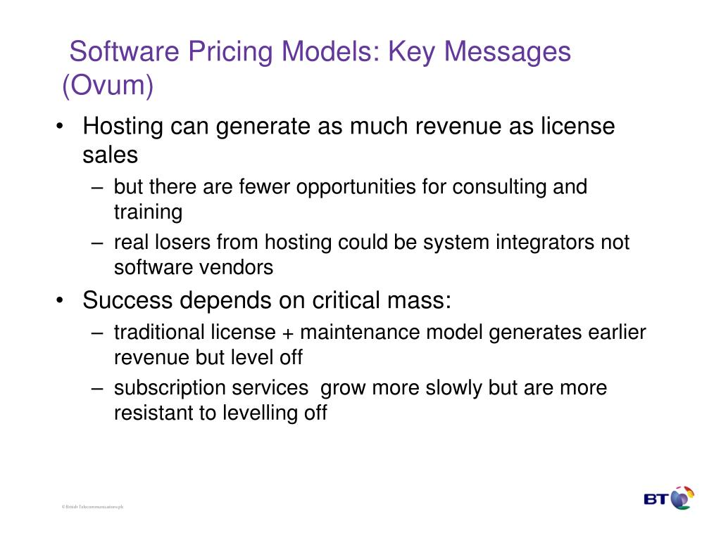 Software Pricing Models: Key Messages (Ovum)