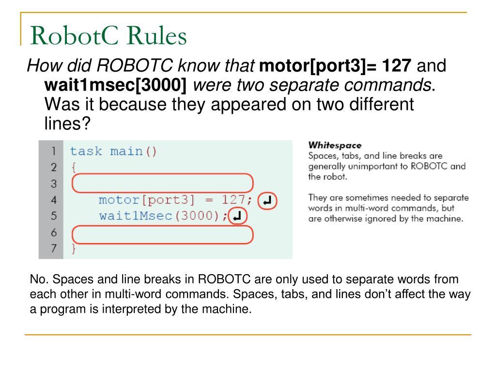 RobotC Rules
