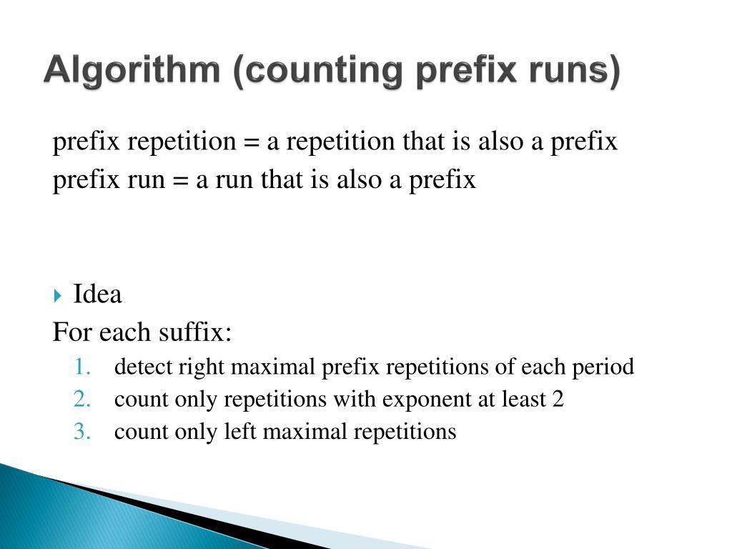 Algorithm (counting prefix runs)