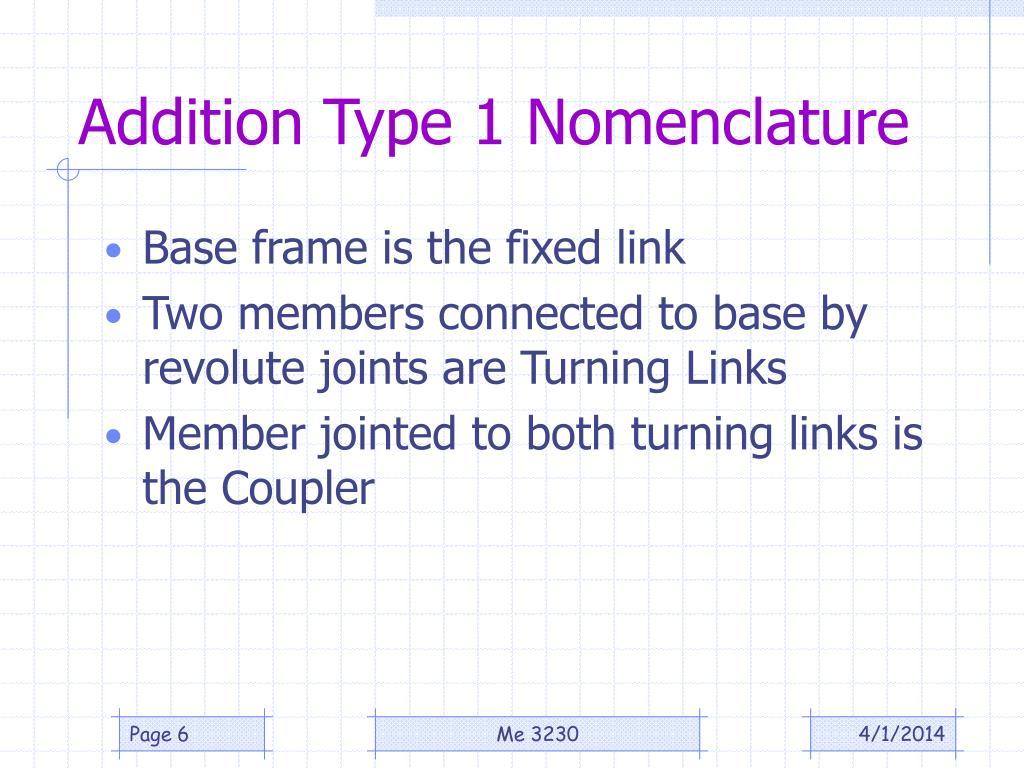 Addition Type 1 Nomenclature