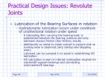 practical design issues revolute joints