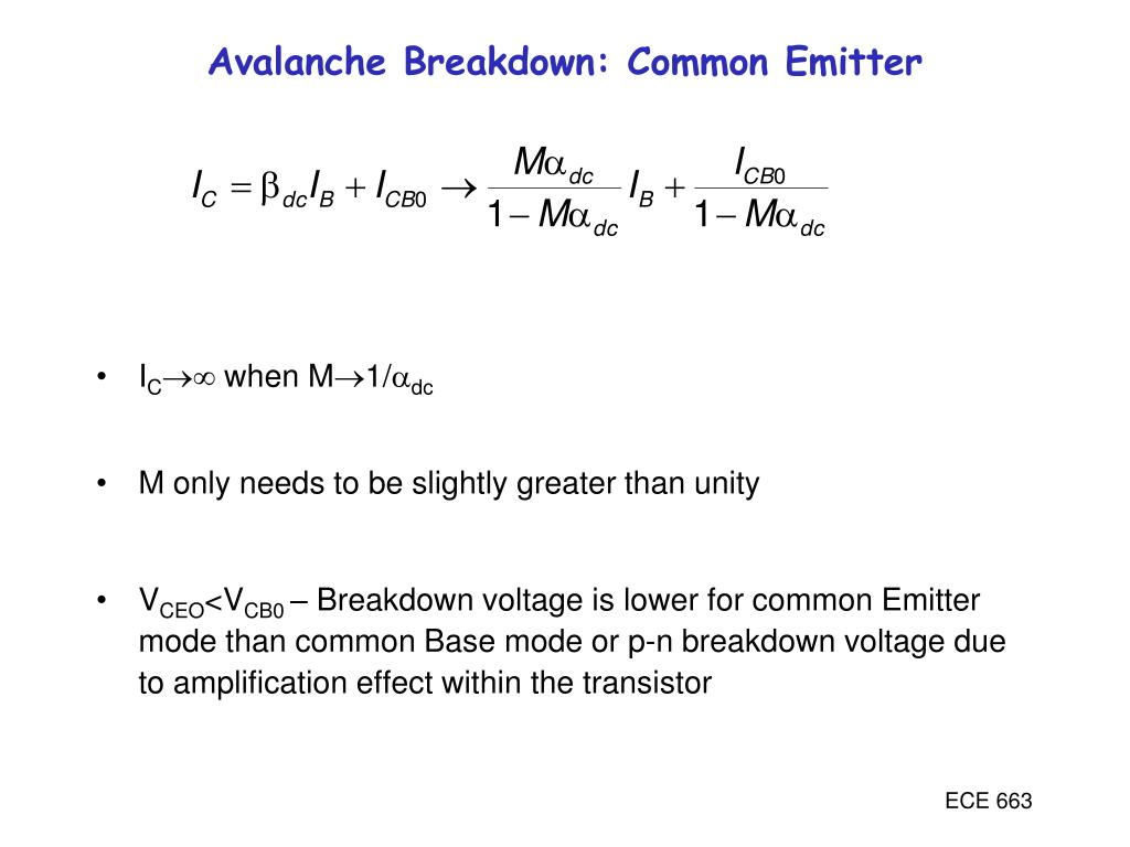 Avalanche Breakdown: Common Emitter