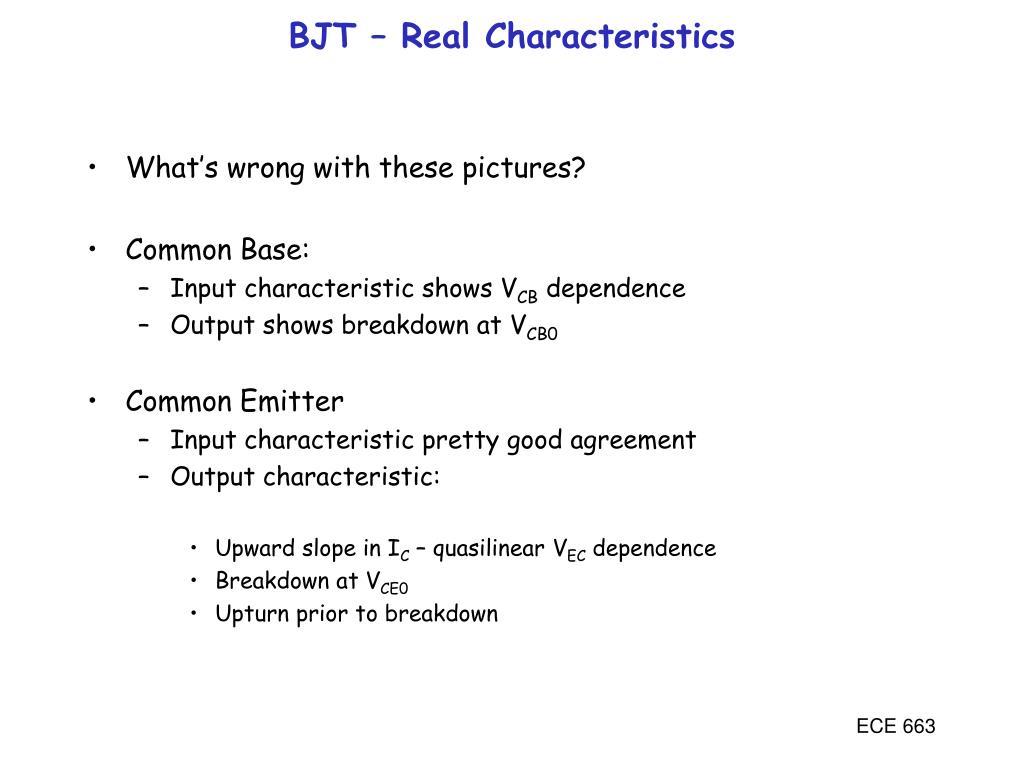 BJT – Real Characteristics