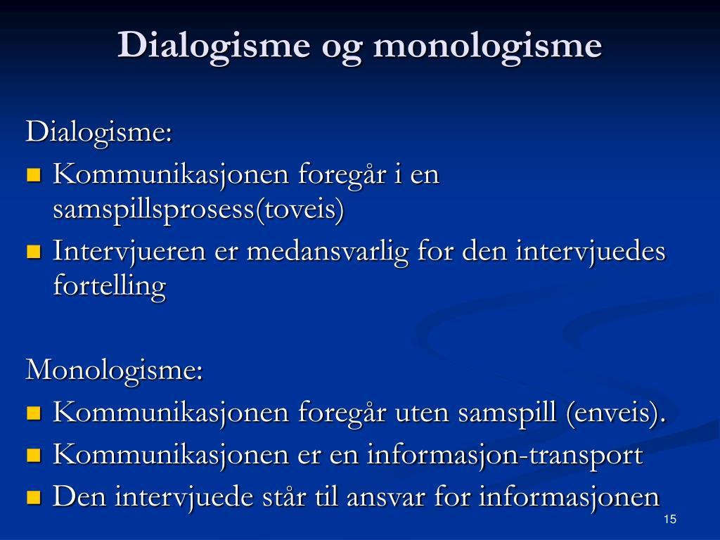 Dialogisme og monologisme
