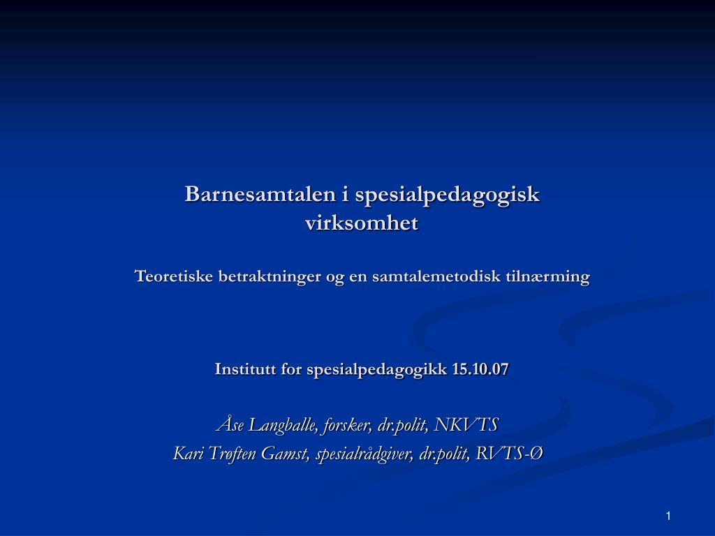 Barnesamtalen i spesialpedagogisk virksomhet