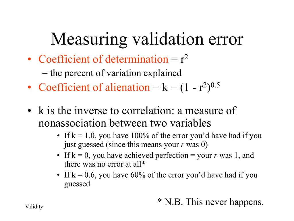 Measuring validation error