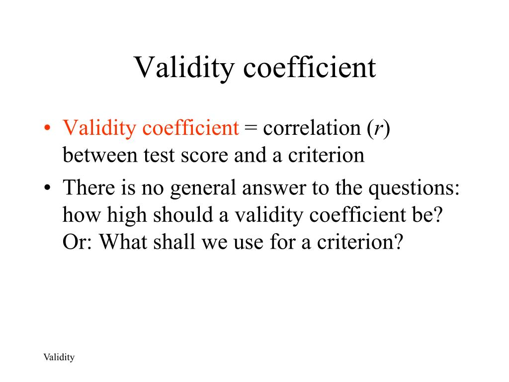 Validity coefficient