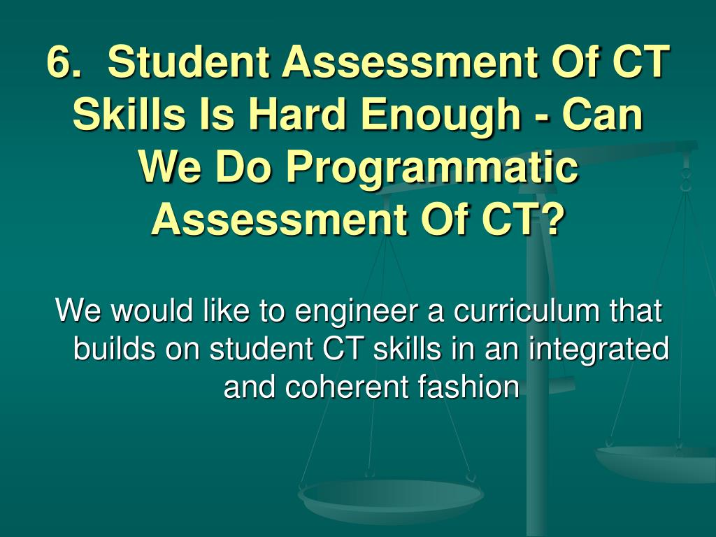 6.  Student Assessment Of CT Skills Is Hard Enough - Can We Do Programmatic Assessment Of CT?