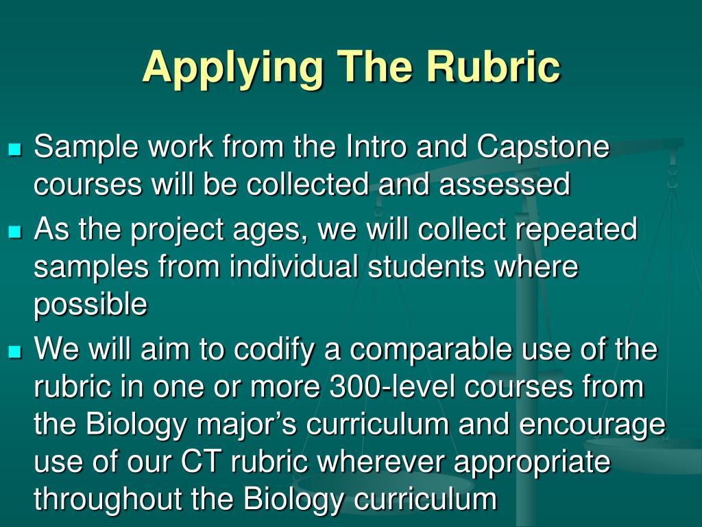 Applying The Rubric