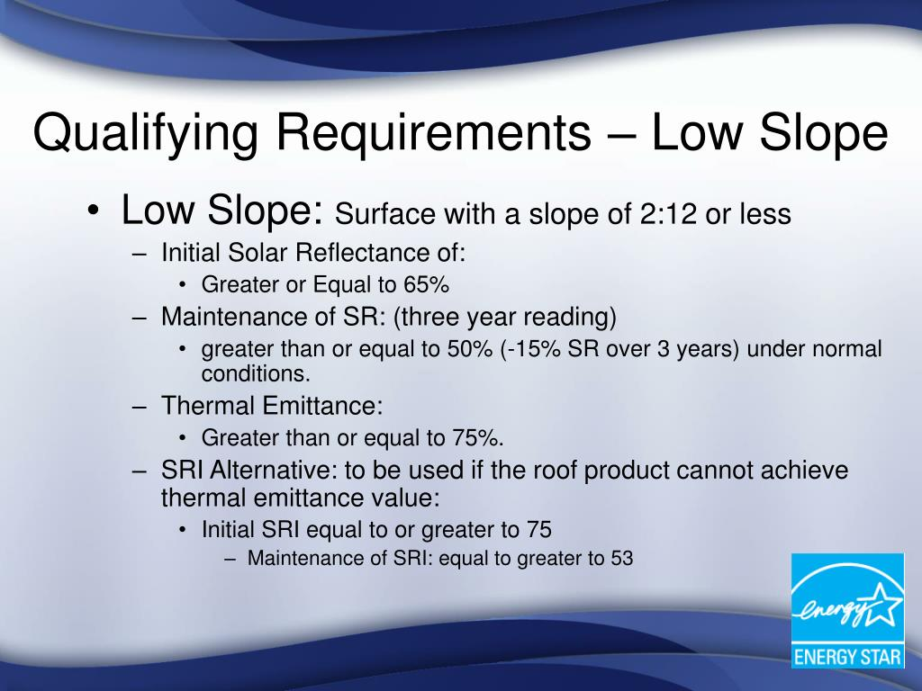 Qualifying Requirements – Low Slope