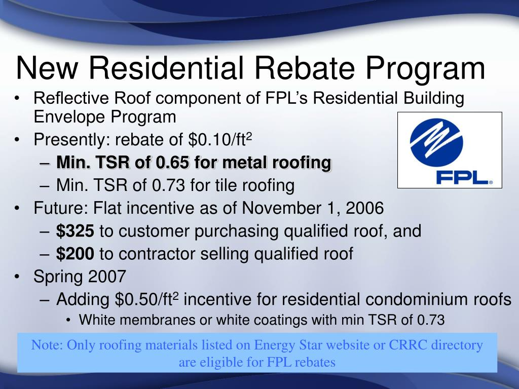 New Residential Rebate Program