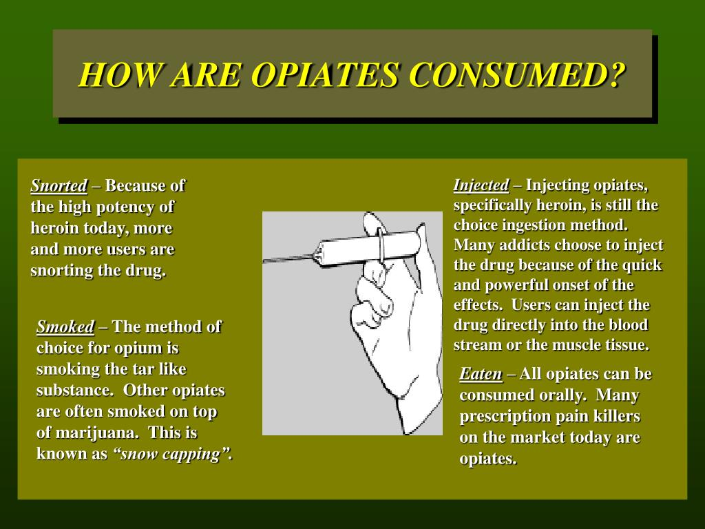HOW ARE OPIATES CONSUMED?
