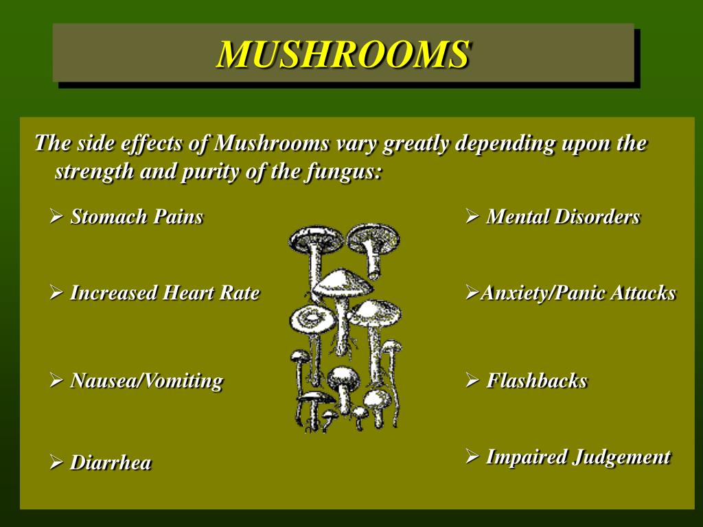 The side effects of Mushrooms vary greatly depending upon the 	strength and purity of the fungus: