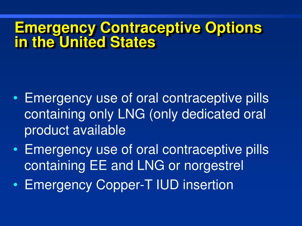Emergency Contraceptive Options