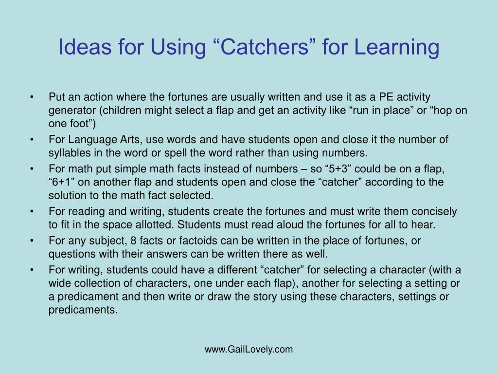 "Ideas for Using ""Catchers"" for Learning"