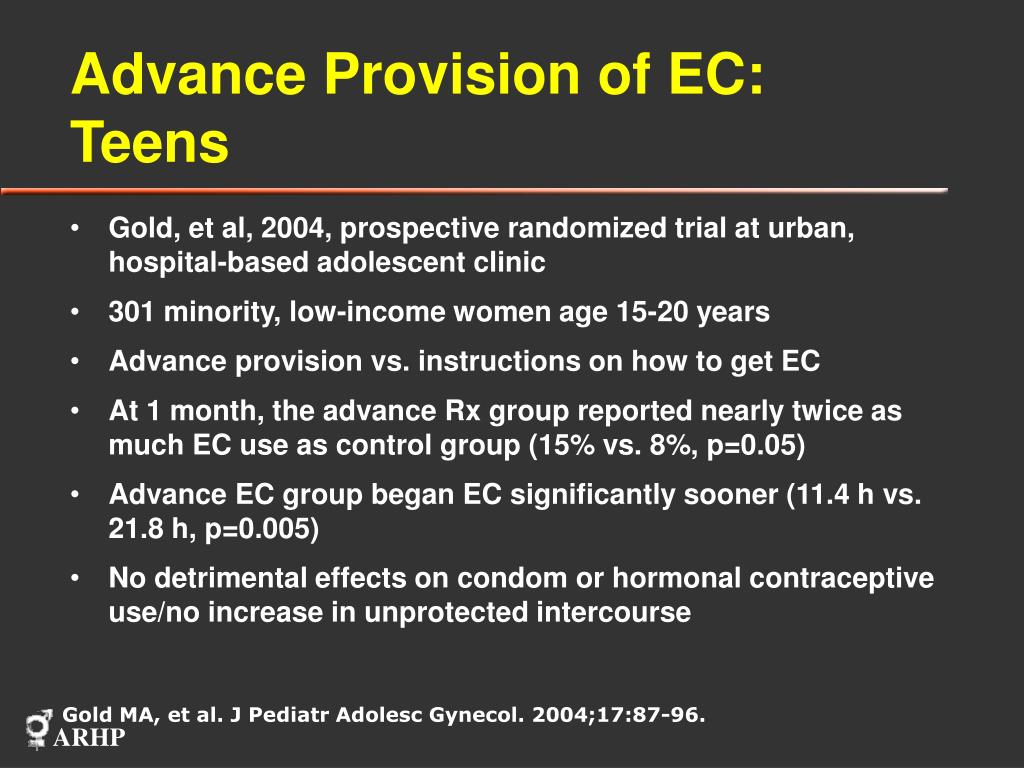 Advance Provision of EC: Teens