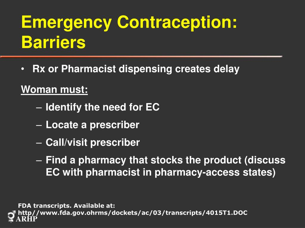 Emergency Contraception: Barriers