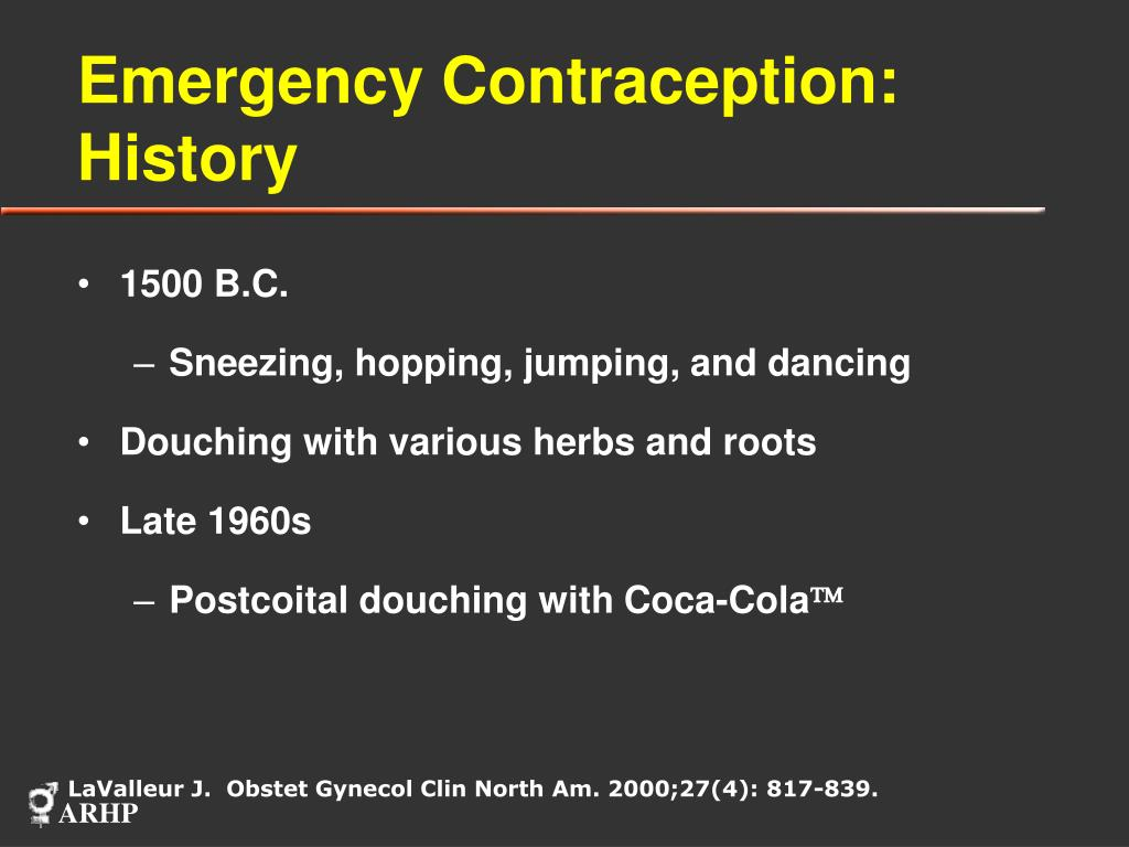 Emergency Contraception:  History