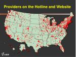 providers on the hotline and website