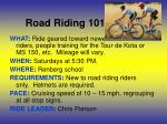 road riding 101