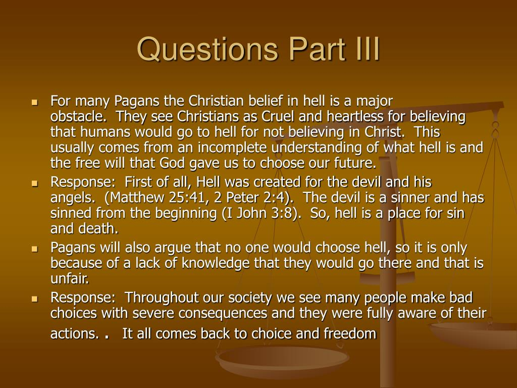 Questions Part III