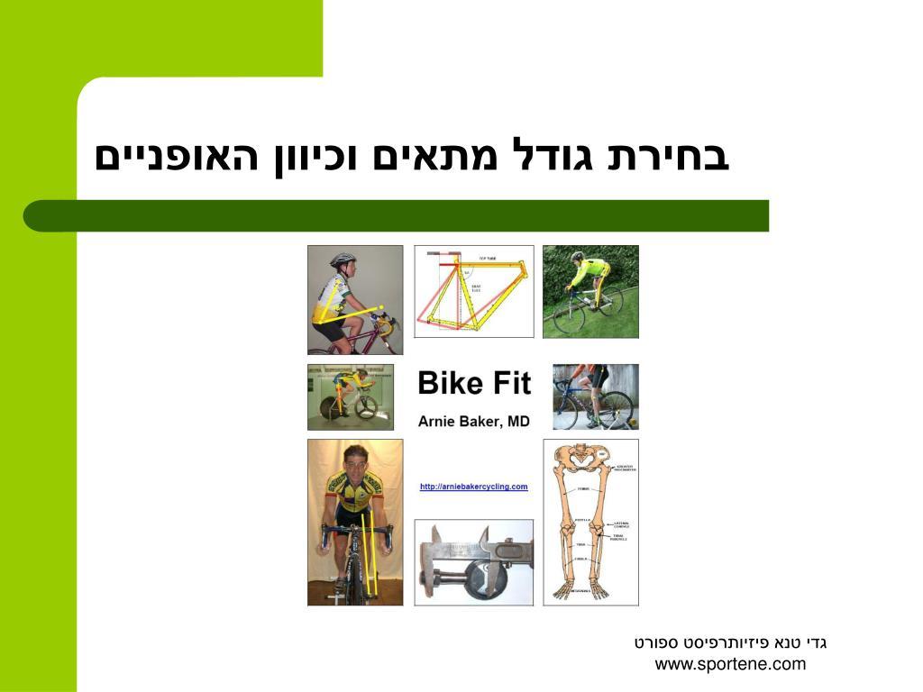 בחירת גודל מתאים וכיוון האופניים