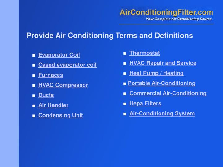 Provide Air Conditioning Terms and Definitions