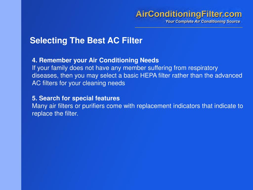 Selecting The Best AC Filter